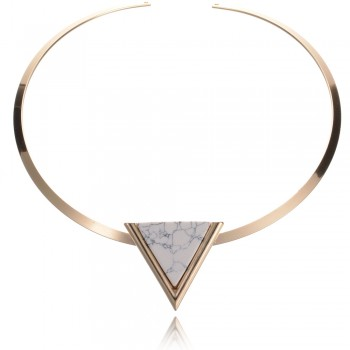 Marble Triangle Neclace White